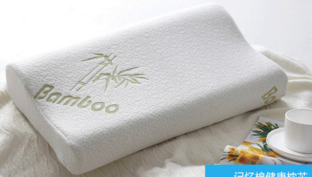 Bamboo fibre pillow memory foam  memory   cervical health care pillow wave neck pillow 30*50cm