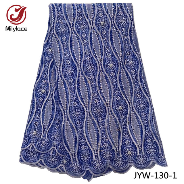 Wholesale african lace fabric with beads design beautiful style french net lace fabric nigerian lace fabric for dress JYW-130
