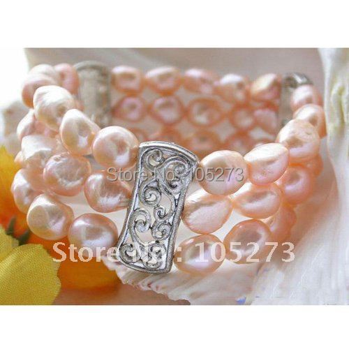 Stretch 3Row AA 8-12MM Pink Color Baroque Shaper Genuine Freshwater Pearl Bracelet 8inchs Pearl Jewelry New Free Shipping FN1656