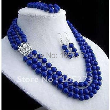 Stunning! 3Rows 8mm Blue lapis Lazul necklace Elastic bracelet earring jewelry set N:Length:18''-20''inchs Free shipping FN28