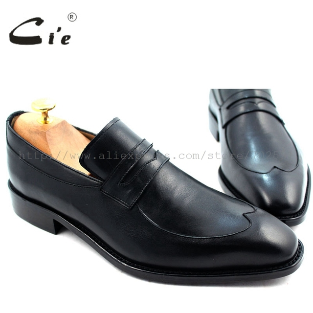 cie Free Shipping Bespoke Handmade Men's Calfskin Leather Outsole Breathable Penny Loafer Slip-on Color Black Shoe No.Loafer 29