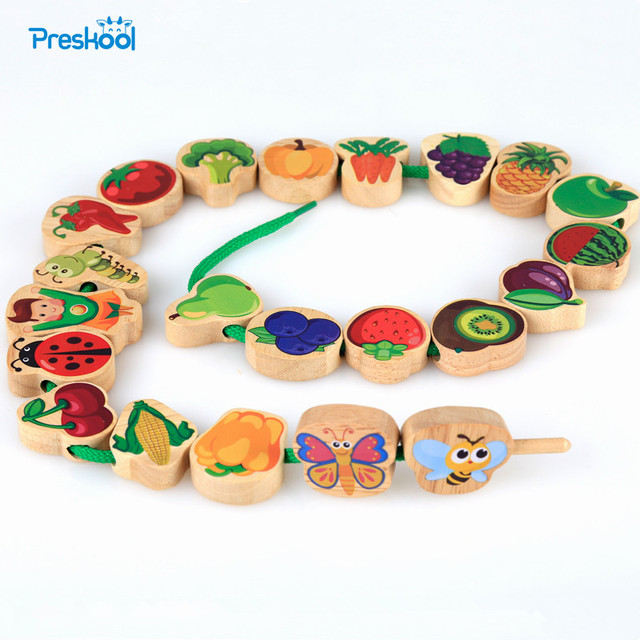 Montessori Kids Toy Baby 24 Pcs Colorful Wood Lacing Beads String Learning Educational Preschool Training Brinquedos Juguets