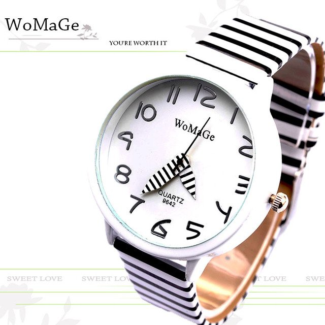 2020 New Top Brand Womage Simple Designer Zebra Crossing Stripe Cow Leather Wrist Watches Girl Children Popular Quartz Clock