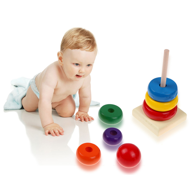 7 Colour  Wooden Toys Stacking Ring Tower Stapelring Blocks Learning Educational Toys For Children Rainbow Stack Up Wood Toys