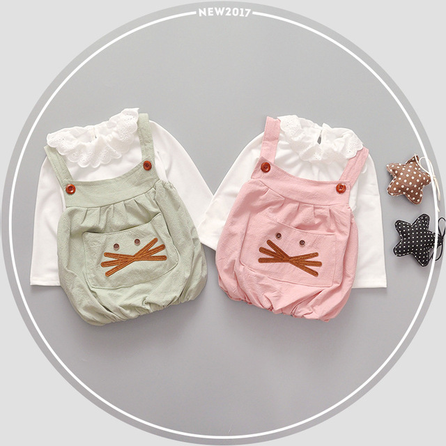 2017 New Spring Baby Clothes Cute Cat Beard Set 100% Cotton Baby Girls Boy Clothes Baby Set Kids Bebes Clothing Set 2pcs