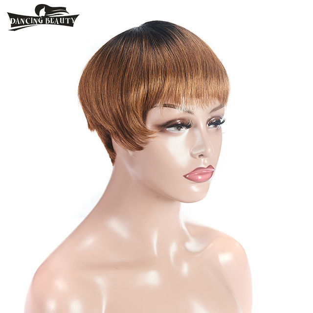 DANCING BEAUTY Pre-Colored Lace Frontal Human Hair Wigs For Women Brazialian Straight Hair Remy Hair Color OT30 Short Wig