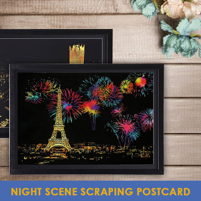 Scratch Painting Nightscape Scratch Painting Black Coated Art Paper Draw Children Education Toys Describe Gift Interesting Toy