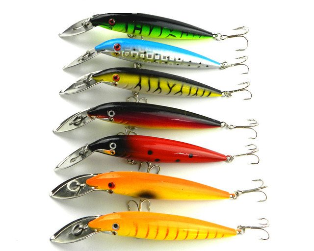 by Fedex 350PC  fishing lures 7 color fishing tackle 14cm 16.2g  4# hooks 140mm plastic newly style bigger fishing baits (MI048)
