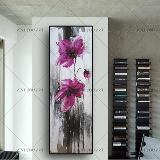 New Arrival Pink Flower Wall Picture Handmade Oil Painting On Canvas For Living Room Hanging