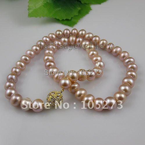 Amazing!pearl necklace purple color Genuine Freshwater pearl Rhinestone Magnet clasp Free shipping 10pcs/lot A2584