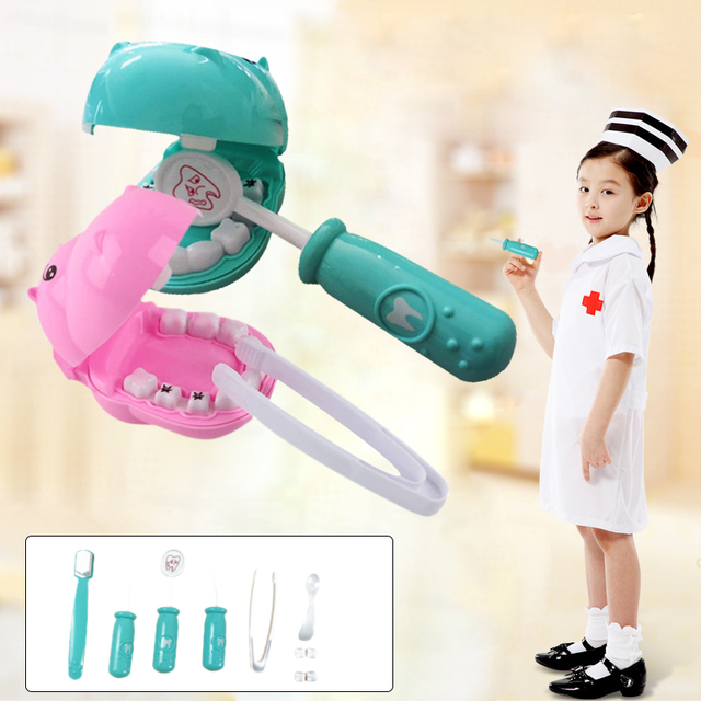 Play Toys Doctor'S Toy Set Hippo Toys Plastic 9pcs/Set Practice DIY Multi-Function Funny Toy Gift Box Teeth Game Educational
