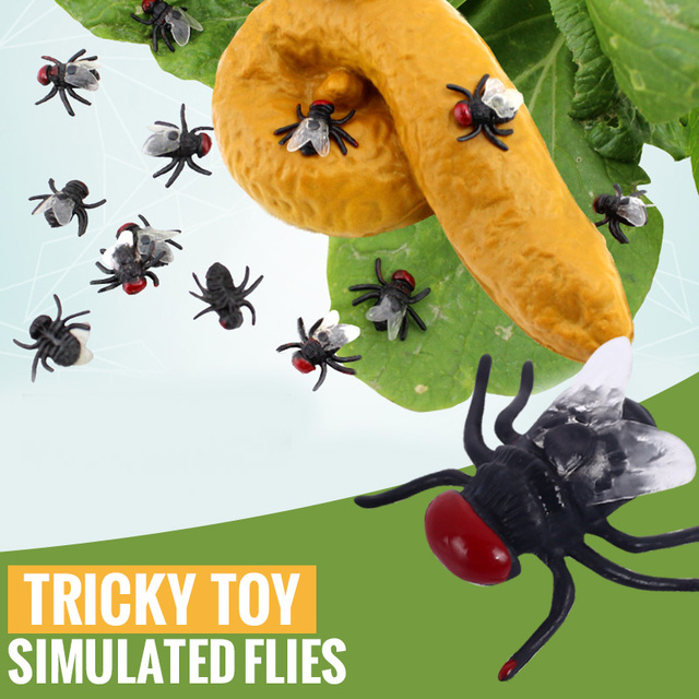 10pcs Funny toys for kids Adults Small Flys Anti-stress toys Decor Scene Props Black Fly Poop Prank Jokes Fake Flys Cool Toy