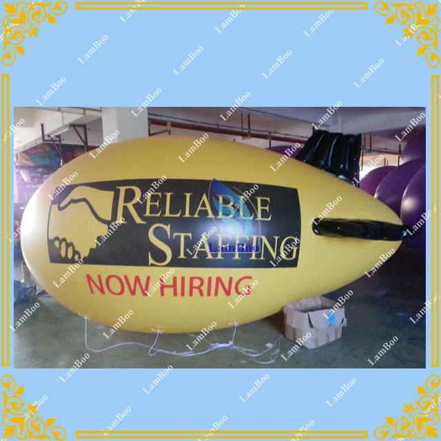 4m Long Yellow Inflatable Airship / Blimp / Zeppelin with your LOGO for Different Events / Digital printing
