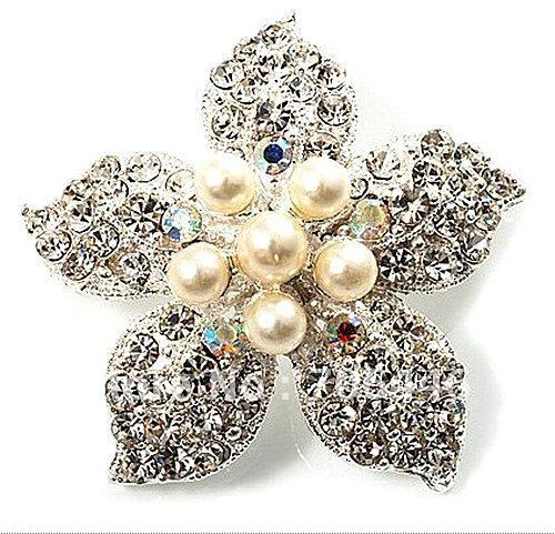 Beautiful Silver Plated Rhinestone Crystal and Cream Pearl Corsage Bouquet Flower Brooch for wedding