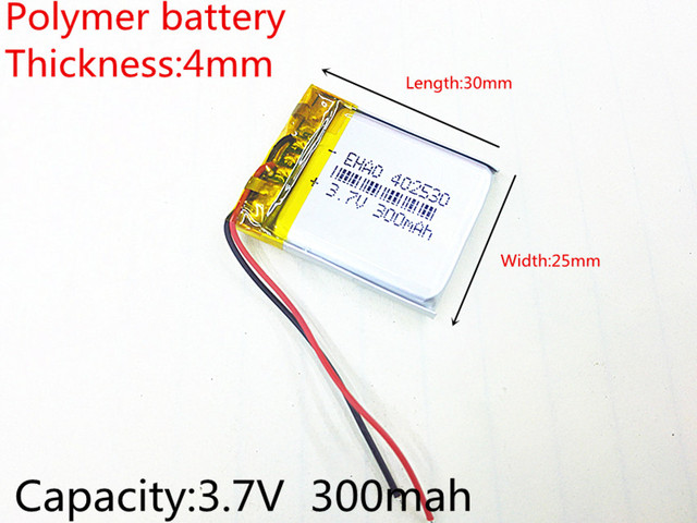 3.7V 300mAh battery 402530 Lithium Polymer Li-Po li ion Rechargeable Battery For Mp3 MP4 MP5 GPS PSP mobile electronic part