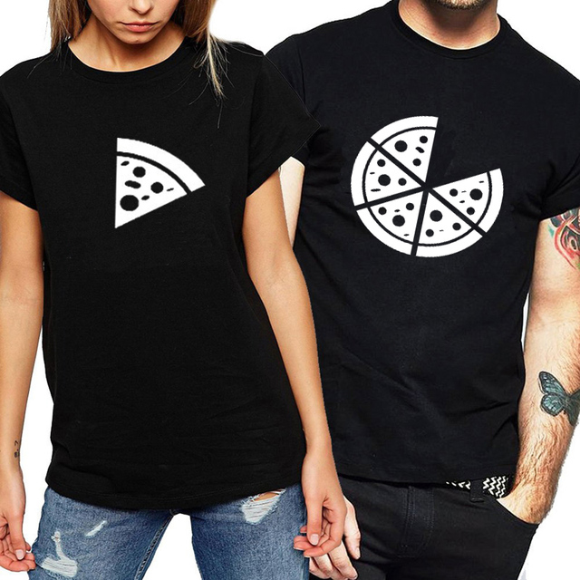 100% Cotton Couple T-shirt Print Pizze Funny Graphic Summer Tops Streetwear Fashion Women T Shirt Hipster Couple Clothes Brand