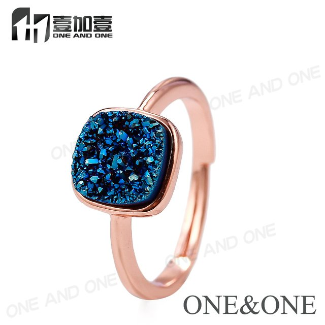 wholesale price 13 colors opal adjustable Ring fashion Square 8x8mm natural Drusy agates Rings jewelry for women