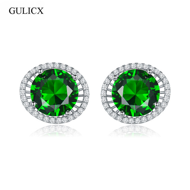 GULICX Vintage Luxury AAA Cubic Zirconia Round Stud Earrings Women Fashion Micro CZ Pave Ear Studs Jewelry Blue Green Black Gift