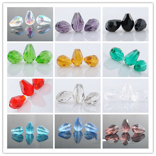 10*15mm Teardrop Glass Beads Faceted Straight Hole Crystal Spacer Beads 50Pcs/Lot Free Shipping