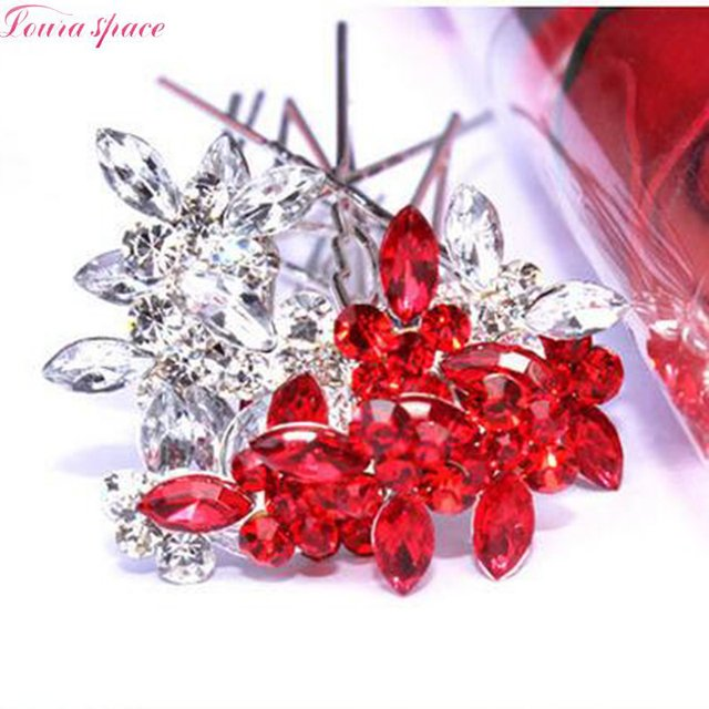 Loura Shace New Lovely Butterfly Hair Sticks U Shape Hairpin Red/White Twist Hair pin For Girls Bride Princess Hair Accessories
