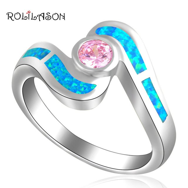 Hotbuying Wholesale & Retail Design Pink Crystal Blue Fire Opal silver plated Fashion Jewelry Ring OR533 USA SZ #6.5 #7.5 #8.5