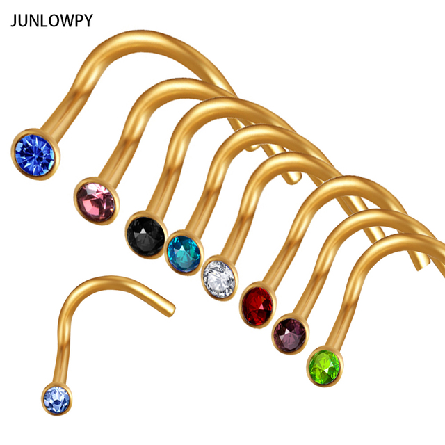 JUNLOWPY Mix Colors Rhinestone Nose Studs Screw Ring Bone Bar Body Piercing Jewelry Gold Silver Nose Pin