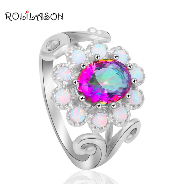 Floating charms Shiny Rainbow Mystic Zircon White Fire Opal Stamped silver plate Zircon  Jewelry Ring USA Sz #6#7#8#9 OR748