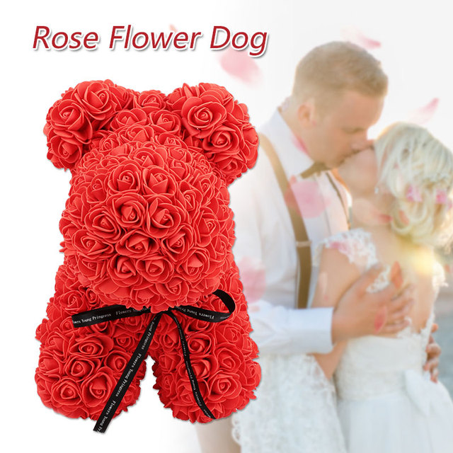 Dog Dolls Artificial Rose PE Lovely Rose Dog Toy Love Girlfriend Romantic Decorations Gift Wedding Simulated