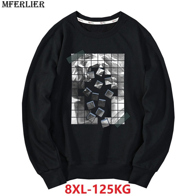 men casual Sweatshirts 8XL large size big 6XL 7XL hipster geometry Creativity homme cotton pull over coat autumn Sweatshirts 5XL