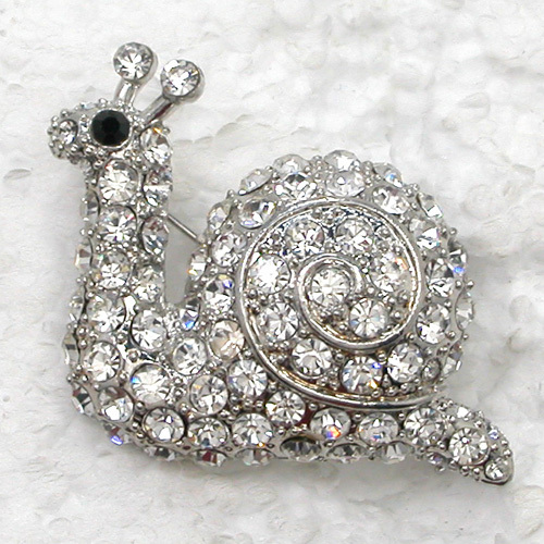 Clear Rhinestone Snail Pin brooches C951 A