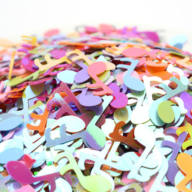 200Pcs Colorful 18mm musical note Sequins DIY Clothing Sewing Materials Loose Sequins Cloth  wedding Making Fill DIY Accessories