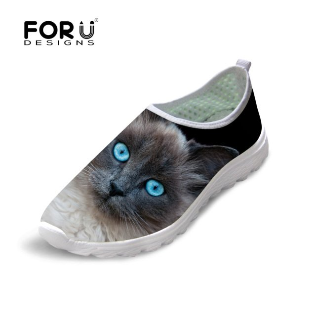 FORUDESIGNS Women's Shoes Cute Cat Printing Mesh Flats Shoes Casual Summer Slip-on Light Shoes for Ladies Female Beach Footwear