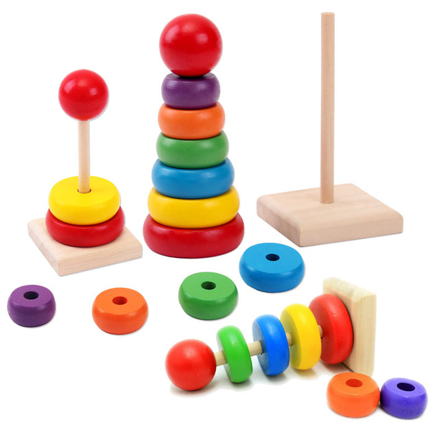 1pcs New Design Kids Baby Toy Wooden Stacking Ring Tower Educational Toys Rainbow Stack Up Learning Education Building Blocks