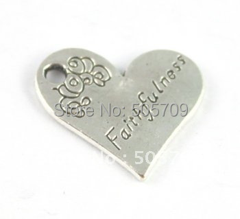 180PCS Tibetan Silver Color heart shape FAITHFULNESS charm A15225