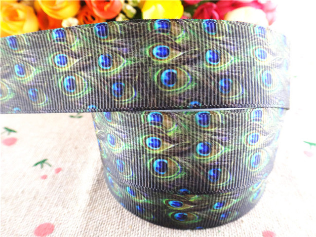 """new  7/8"""" (22mm) Peacock feathers printed grosgrain ribbon cartoon ribbons hair accessories cloth tape 5 yards wq14030325"""