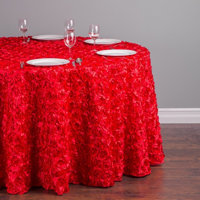 Custom Order Are Welcome 118 in. Polyester 300cm Round Rosette Satin-Feel Tablecloth Red for Ceremony Wedding, 5/Pack