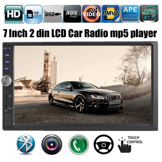 "Car MP5 Player FM Radio Hands-Free Stereo Car Audio Reverse Monitor USB/TF/AUX 2-Din 7"" HD Bluetooth Navigation"