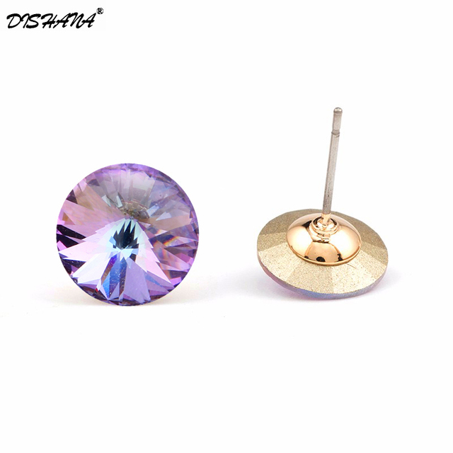 Dishana Fashion Jewelry Earrings for Women Round Stud Earings White Cubic Zircon Earring Pendientes Mujer Moda Studs e0456