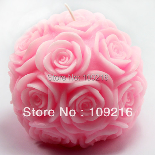 wholesale!!! New Style 3D 9.6*8.6cm Rose Ball (LZ0092)  Silicone Handmade Candle/Soap Mold Crafts DIY Mold