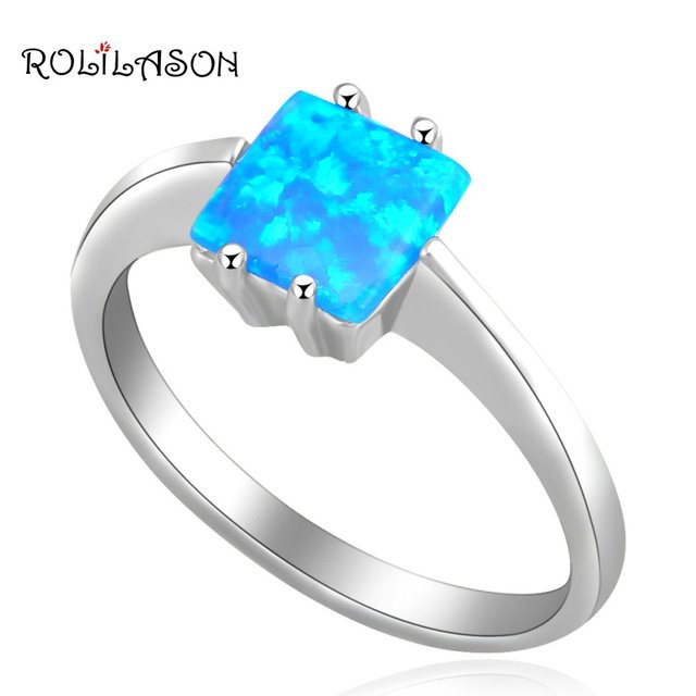 Royal Designer Wholesale & Retail blue Fire Opal silver plated Prom party fashion jewelry Rings USA size #6.75 #7.5 OR462