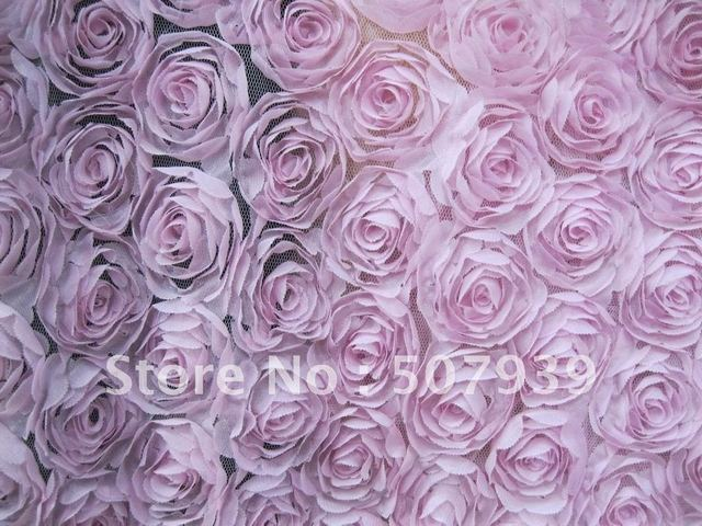 """15y 49"""" 3D chiffon roses photograph back drop,Cover,Curtain,Cushion,Wedding,costume,dress embroidery fabric"""