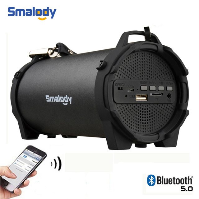 Smalody Portable Wireless Bluetooth 5.0 Speaker Outdoor USB Mini Loudspeaker Music Column Speakers Subwoofer With Carry Strap FM