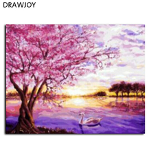 New Frameless Picture DIY Painting By Numbers Hand Painted Oil On Canvas Wall Art Home Decor Impressionist Of Landscape G009
