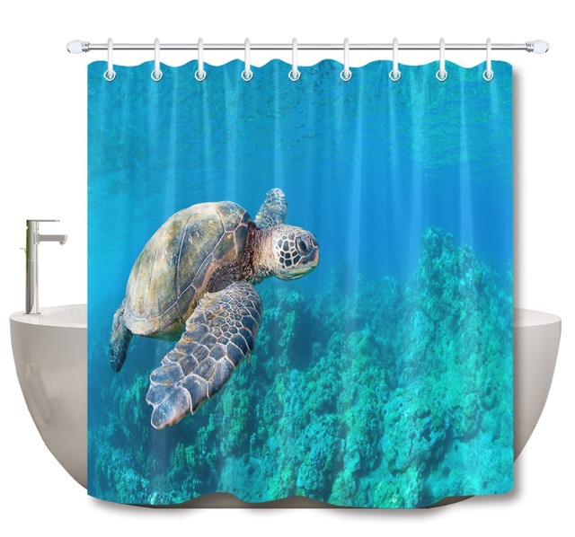 72'' Bathroom Waterproof Fabric Shower Curtain Polyester 12 Hooks Bath Accessory Sets Sea Turtle Swimming Over Coral Reef Custom
