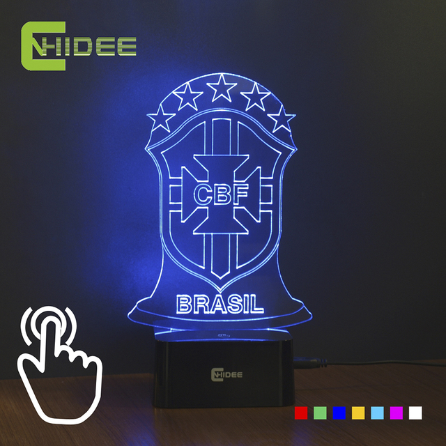 7 Colors Changing Led Night Lamp 3d Nightlighs Table Lampara Bedroom Luz Nocturna for Brazil National Football Team Fans