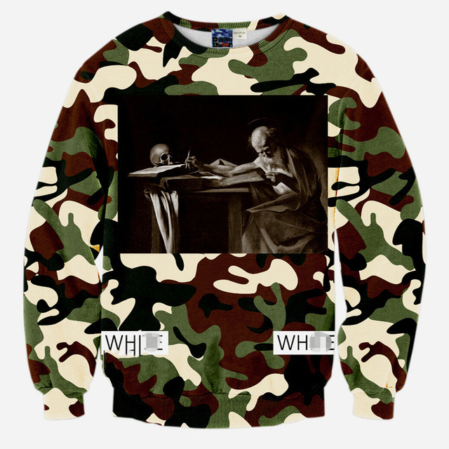 New fashion 2015 fall mens hip hop sweatshirt 3D graphic print off white virgil abloh novelty crewneck pullover hoody
