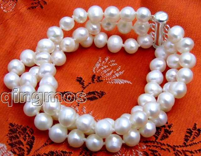"SALE  AA  6-7MM Round WHITE NATURAL FreshWater PEARL 3 STRANDS 7.5"" BRACELET & S925 SILVER CLASP -bra1280 Wholesale/retail"