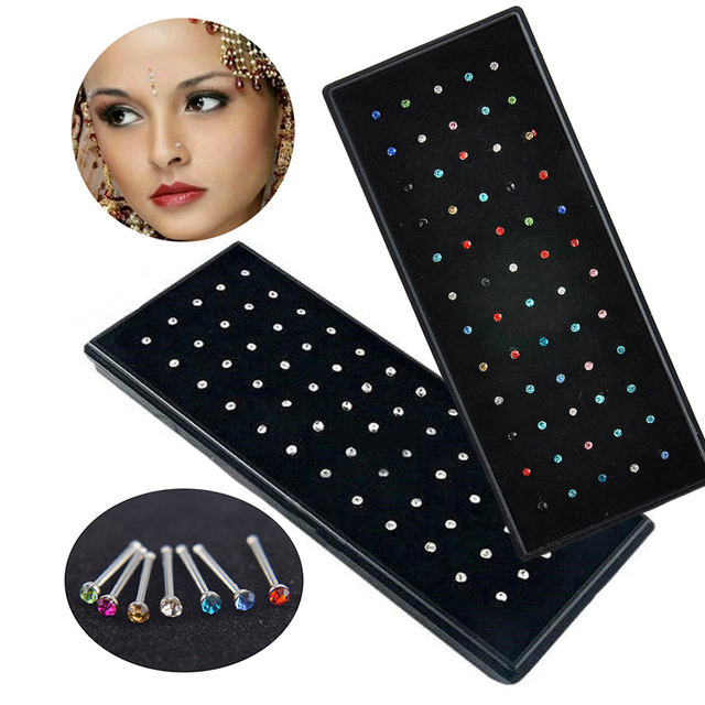 Crystal Nose Ring & Studs For Women Girl Jewelry Surgical Steel Nose Piercing White/Colorful Rhinestone Body Jewelry
