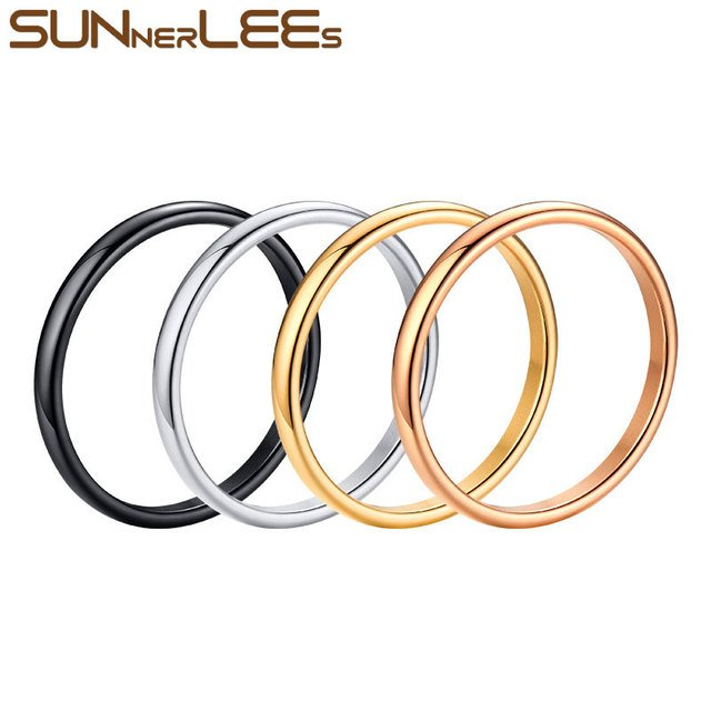 4pcs/Lot SUNNERLEES Titanium Stainless Steel Rings 2mm Silver Gold Black High Polished Simple Style Men Women Wedding Ring R-486