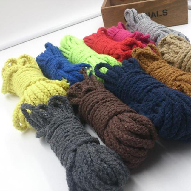 8mm 80yards/lot DIY Handmade 100% Cotton Rope Woven Cotton Cord/String for Diy Accessories Bag Craft Projects 9 color